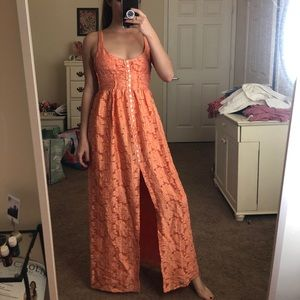 NWOT Free People Lace Button-Up Maxi
